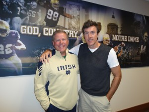 Notre Dame Coach Brian Kelly with Adam Ritz