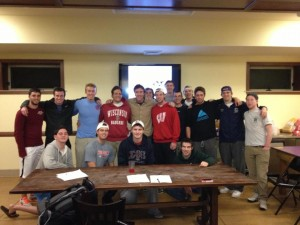 Adam (center) with the men of Sigma Phi Epsilon at the University of Wisconsin