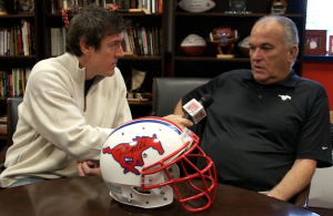 Adam talking with SMU head coach June Jones