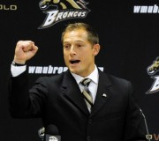 P.J. Fleck speaks to the crowd gathered in the 'W' Club after Western Michigan University Athletic Director Kathy Beauregard made the announcement of Fleck as the new Head Football Coach replacing Bill Cubit.Date Shot 12-18-2012(Matt Gade | MLive.com)