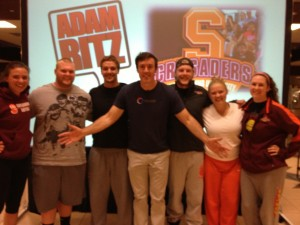 Adam with Susquehanna University student athletes