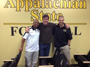 App State Chaplain Reggie Hunt, Adam, and App State Director of Player Personnel John Mark Hamilton