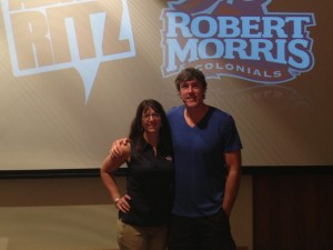 Robert Morris University's Bobbie Jo Belus with Adam Ritz
