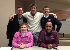 Adam with Missouri State athletics staffers, including Casey Hunt in pink.
