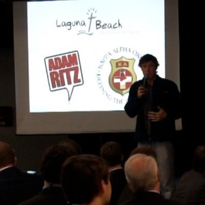 Adam broadcasting at Laguna Beach Christian Retreat with Kappa Alpha Order