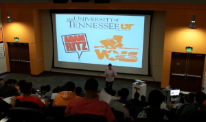 Adam Ritz broadcasting with the Tennessee Volunteers football team