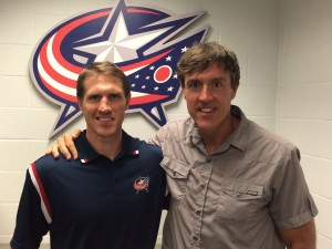Coach Chris Clark with the NHL Blue Jackets