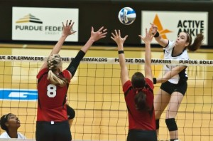 Purdue Volleyball, Val Nichol high above the net