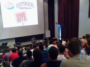 Adam broadcasts in front of a live audience at Shippensburg University
