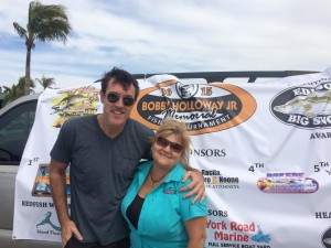 Adam Ritz and Ernestine Holloway with the Bobby Holloway Memorial Fishing Tournament.