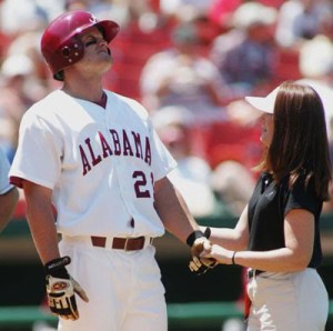 Alabama athletic trainer Ginger Gilmore with Alabama baseball