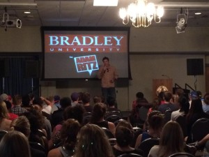 Adam Ritz broadcasting with the students at Bradley University