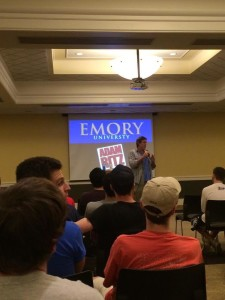 Adam Ritz broadcasting at Emory University