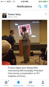 Purdue SigEp Alum Adam Ritz Interviewing Emory Sig Ep President Cole During a Presentation toIFC Chapters at Emory